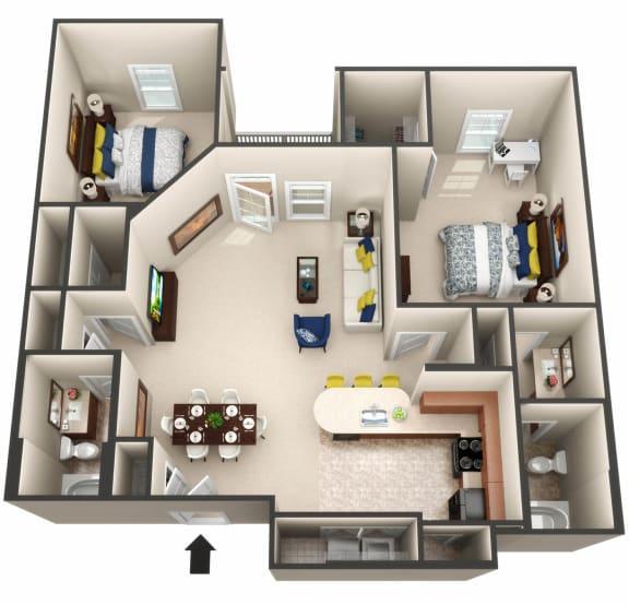 The Balearic floor plan 3D image