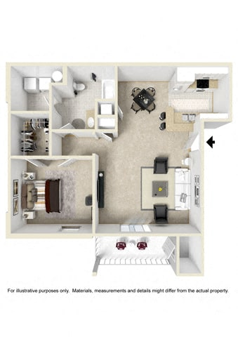 Floor Plan  One Bedroom-Phase I