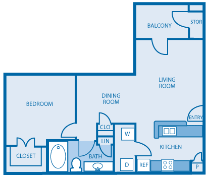 One Bed One Bath Floor Plan at Hickory Point Apartments, Nashville, Tennessee
