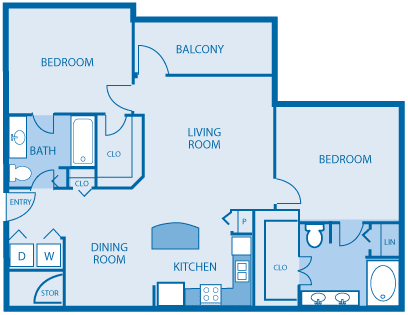 2 bedroom 2 bath Floor Plan at Hickory Point Apartments, Tennessee