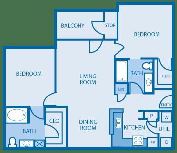 2 Bedroom 2 Bathroom Floor Plan at Hickory Point Apartments, Nashville, TN, 37211