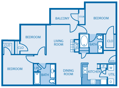 Three Bed Two Bath Floor Plan at Hickory Point Apartments, Nashville, 37211