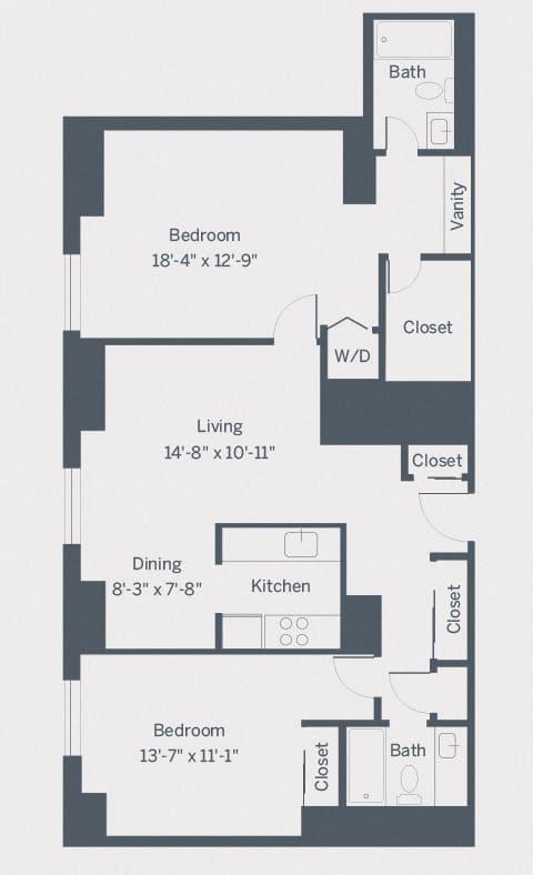 B5 Floor Plan at The Franklin Residences, Pennsylvania, 19107