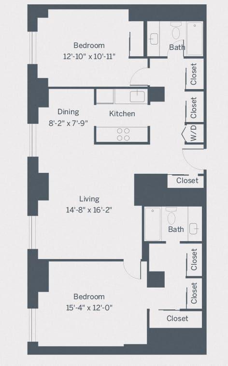 B4 Floor Plan at The Franklin Residences, Pennsylvania