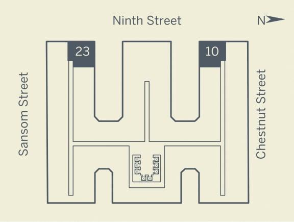A6 Floor Plan at The Franklin Residences, Philadelphia, PA, 19107