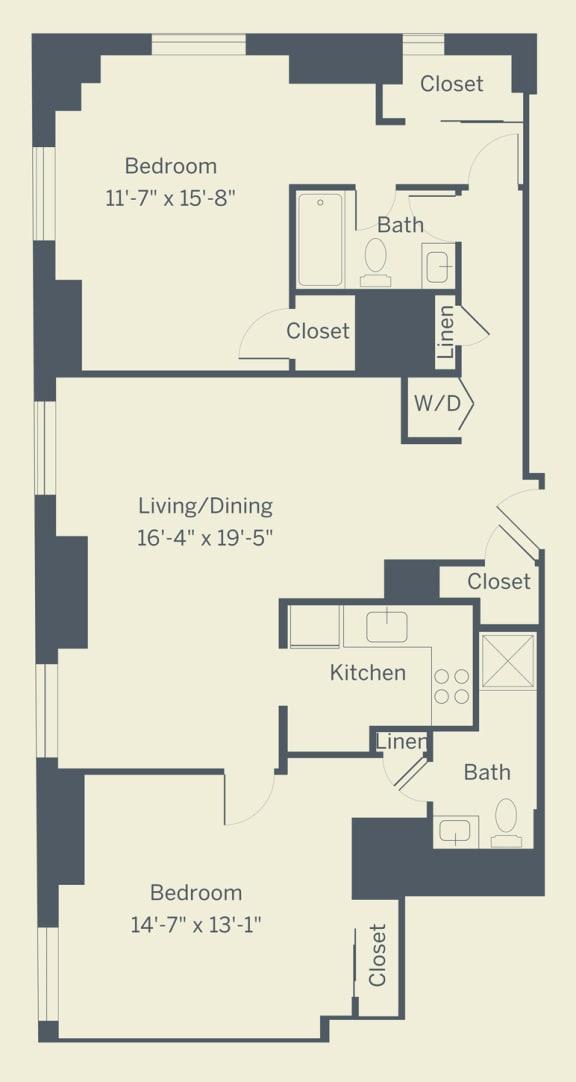 B2 Floor Plan at The Franklin Residences, Philadelphia, 19107