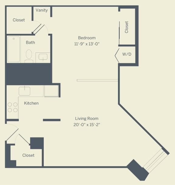 E1 Floor Plan at The Franklin Residences, Philadelphia