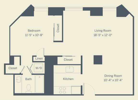E3 Floor Plan at The Franklin Residences, Philadelphia, PA