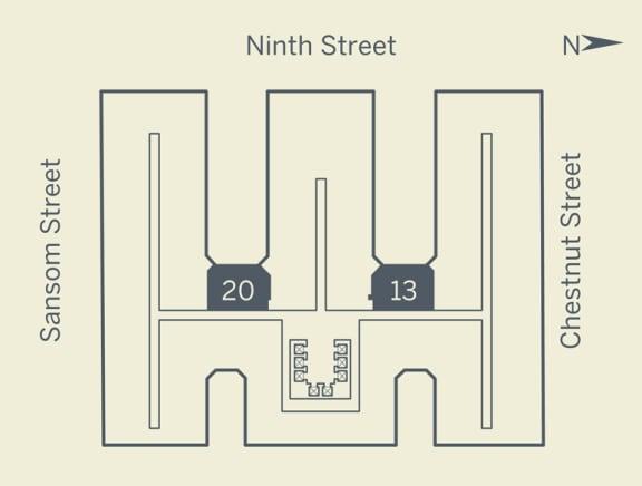 E3 Floor Plan at The Franklin Residences, Philadelphia, 19107