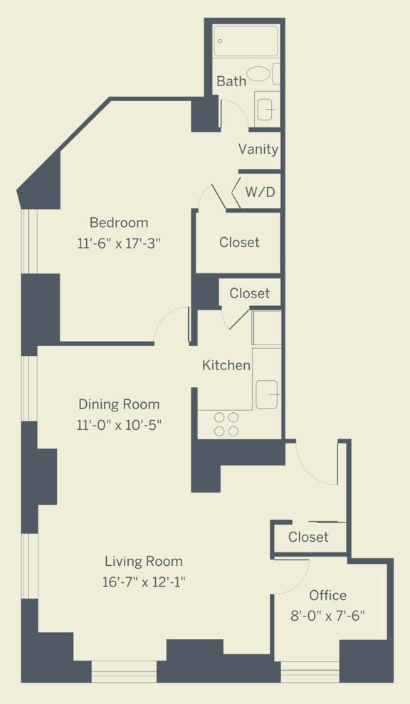A12 Floor Plan at The Franklin Residences, Philadelphia