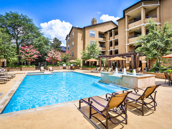 Two sparkling swimming pools at Addison TX apartments for rent