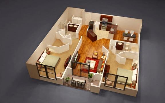 2 Bed 2 Bath Terrapin Floor Plan at Kensington Place, Virginia