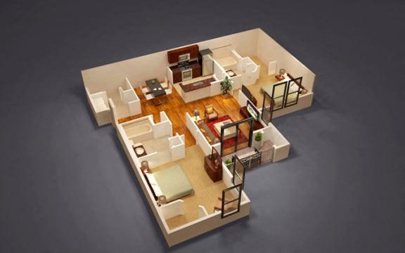 2 Bed 2 Bath Cardinal Floor Plan at Kensington Place, Woodbridge, VA, 22191