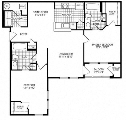 2 Bed 2 Bath Colonial Floor Plan at Kensington Place, Woodbridge, 22191