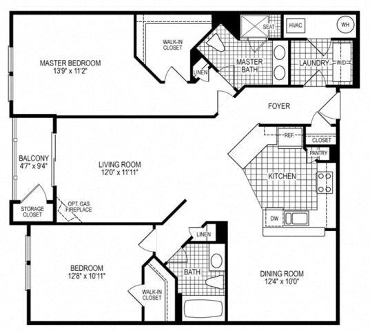 2 Bed 2 Bath Terrapin Floor Plan at Kensington Place, Virginia, 22191