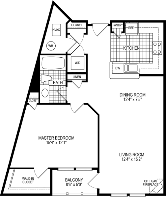 1 Bed 1 Bath Standford Floor Plan at Kensington Place, Woodbridge, VA
