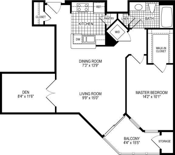 1 Bed 1 Bath Kingston Floor Plan at Kensington Place, Woodbridge, VA, 22191