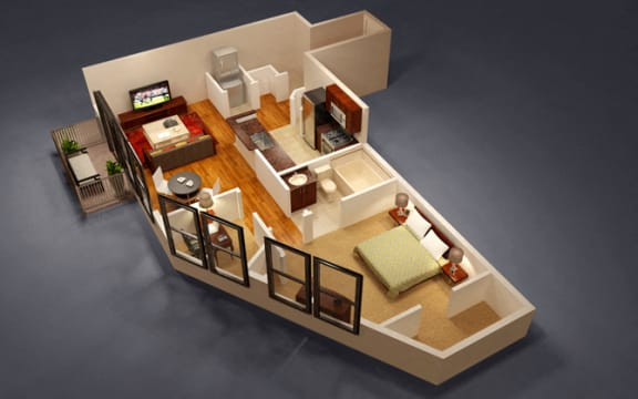 1 Bed 1 Bath Cambridge Floor Plan at Kensington Place, Woodbridge, VA