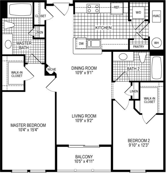 2 Bed 2 Bath Harvard Floor Plan at Kensington Place, Woodbridge, VA