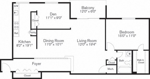 Two Bedroom Apartment with Den, Floorplan, Beltsville, MD