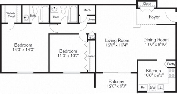 Two Bedroom Floorplan, Barclay Square, MD, 20705