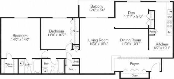 Two Bedroom, Den, Floorplan, Beltsville, MD