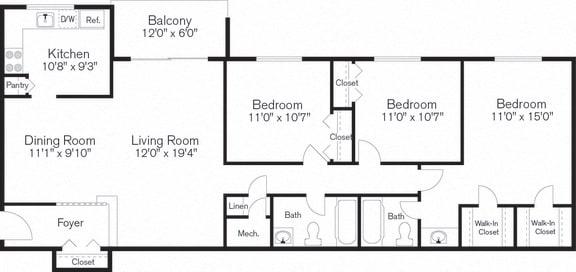 Three Bedrooms, Floorplan Layout, Barclay Square, 20705