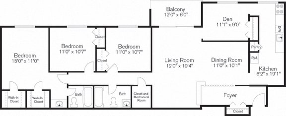 Three Bedrooms, Den, Floorplan Layout, Barclay Square, 20705