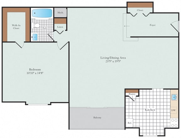 One Bedroom Floorplan at Hickory Hill