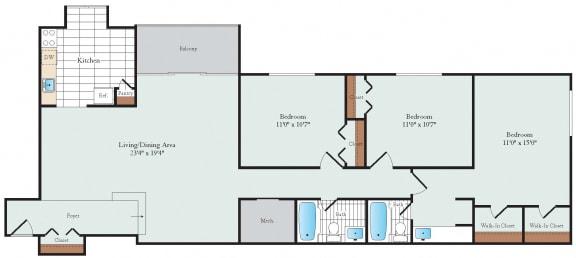 Three Bedroom Floorplan at Hickory Hill
