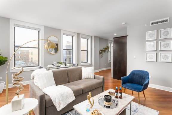 Modern Living Room at Somerset Place Apartments, Chicago, Illinois