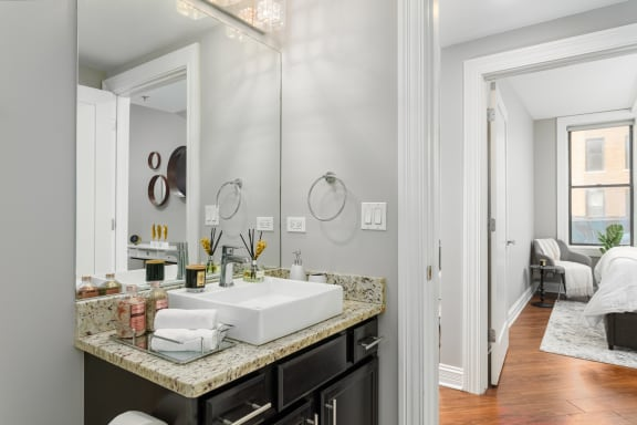 Spa Inspired Bathroom at Somerset Place Apartments, Illinois