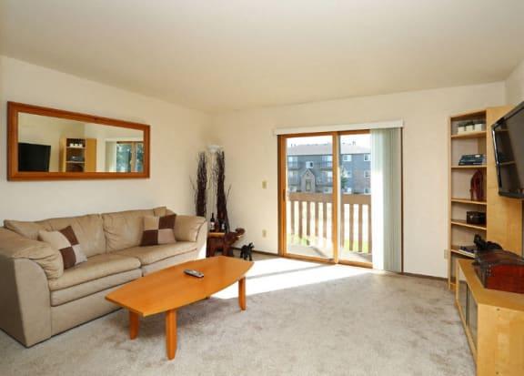 Trendy Living Room at Eco Park, DeKalb, IL