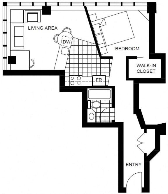 Floor Plan  studio apartment rentals