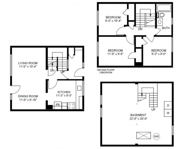 Floor Plan  3 bedroom townhouse