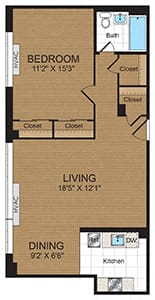 Floor Plan  One-Bedroom 1A Floorplan at Connecticut Park Apartments