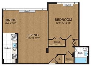 Floor Plan  One Bedroom 1B1 Floorplan at Connecticut Park Apartments