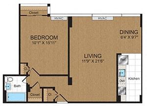 Floor Plan  One-Bedroom 1B2 Floorplan at Connecticut Park Apartments