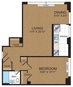 Floor Plan  One-Bedroom 1C Floorplan at Connecticut Park Apartments