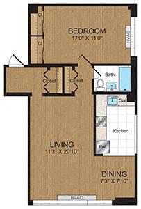 Floor Plan  One Bedroom 1C1 Floorplan at Connecticut Park Apartments