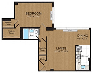 Floor Plan  One-Bedroom 1D Floorplan at Connecticut Park Apartments
