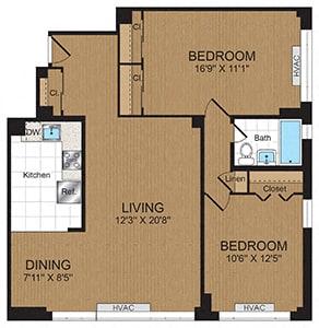 Floor Plan  Two-Bedroom 2A Floorplan at Connecticut Park Apartments