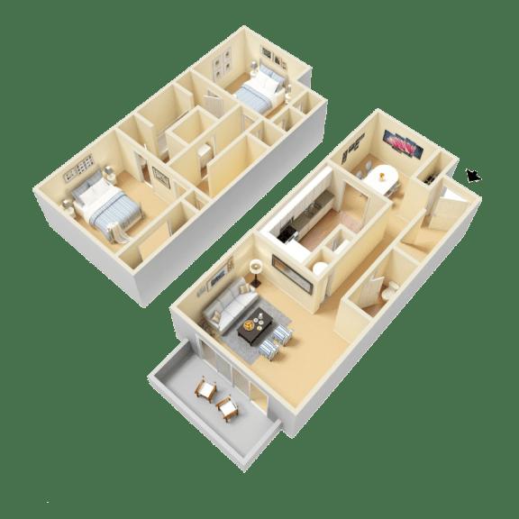 Floor Plan  Durant Floor Plan at Clarion Crossing Apartments in West Raleigh