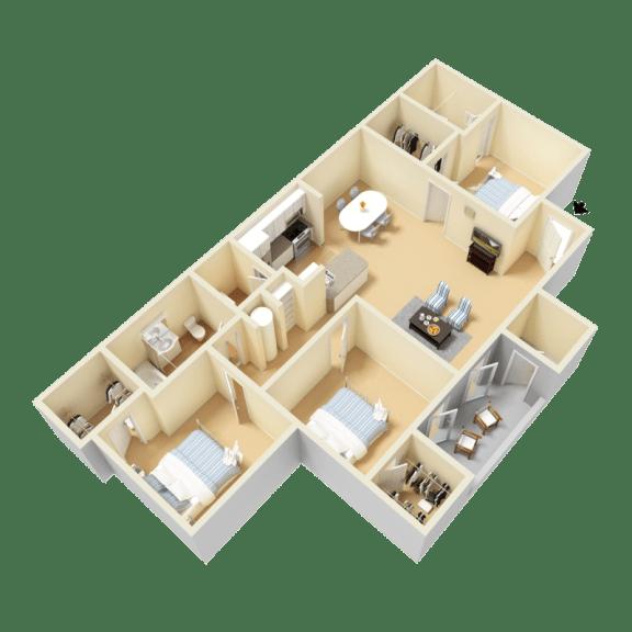Floor Plan  Umstead Floor Plan at Clarion Crossing Apartments in West Raleigh