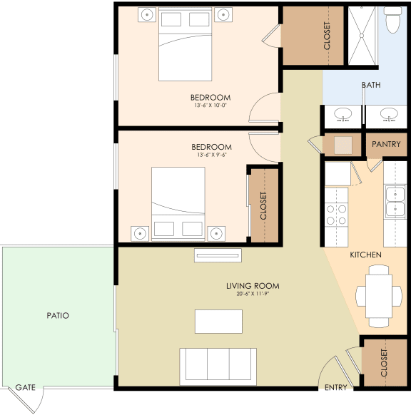 Two Bedroom One Bath Floor Plan at Latham Court, Mountain View, 94040