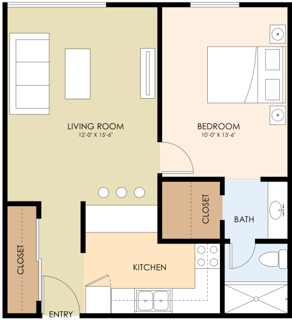One Bedroom One Bath Floor Plan at Latham Court, Mountain View