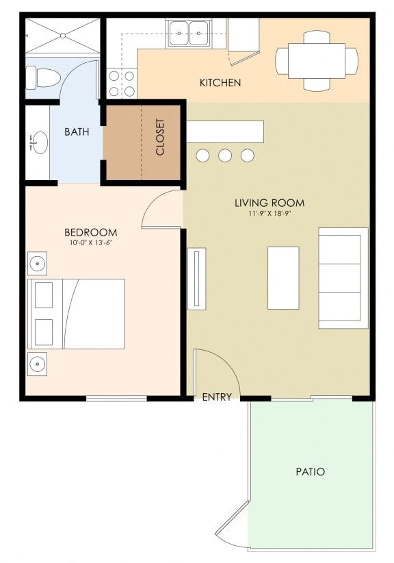 One Bed One Bath Floor Plan at Latham Court, Mountain View, CA, 94040
