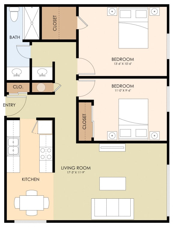 Two Bed One Bath Floor Plan at Latham Court, Mountain View, CA