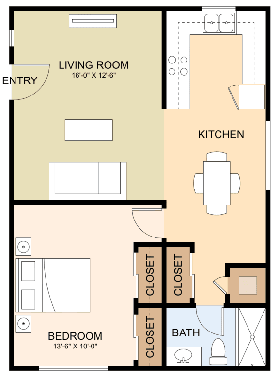 One Bedroom One Bath Floor Plan at Magnolia Place, Sunnyvale, CA, 94087