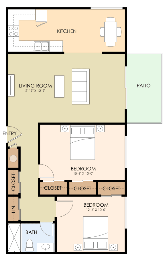 Two Bedroom One Bath Floor Plan at Magnolia Place, Sunnyvale, California